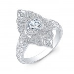 Marquee Shaped Diamond Engagement Ring