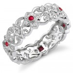 Eloquently Mill Grained Diamond and Ruby Stackable Ring