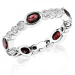 Diamond and Custom Cut Oval Ruby Stackable Ring