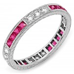 Diamond and Pink Sapphires Engraved Ring