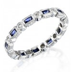 Hand Engraved Blue Sapphire and Diamond Stackable Ring Accented by Fine Mill Graining
