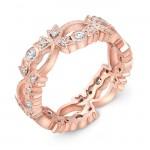 Leaf Diamond Stackable Wedding Ring