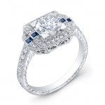 Diamond & Blue sapphire Engagement Ring