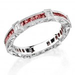 Diamond and Ruby engraved ring