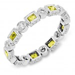 Bezel Set Princess Cut Yellow Sapphire and Round Diamond Ring