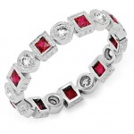 Bezel Set Princess Cut Ruby and Round Diamond Ring