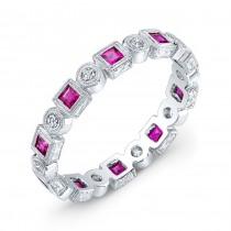 Engraved Ruby & Diamond Ring