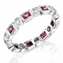 Baguette Pink Sapphire and Diamond Stackable Ring