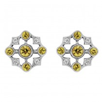 Diamond and Yellow Sapphire Earring
