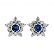 Diamond and Blue Sapphire Flower Earring