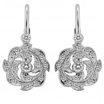 Mill Grained, Lever Back, Diamond Earring