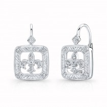 Diamond, Fleur De Li, Lever Back Earring