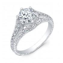 Gordon Clark Antique Inspired Diamond Engraved Engagement Ring
