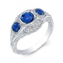 Antique Inspired Three Stone Blue Sapphire & Diamonds Ring