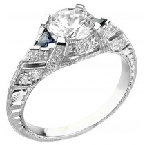 Diamond and Blue Sapphire Engagement Ring, Semi Mount