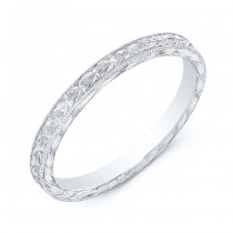 White Gold Hand Engraved Band