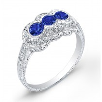 Vintage Petite Antique Inspired Three Stone Blue Sapphire & Diamonds Ring