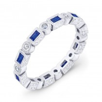 Baguette Blue Sapphire and Diamond Ring