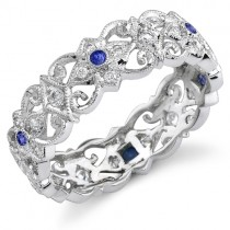 Eloquently Mill Grained Diamond and Blue Sapphire Stackable Ring