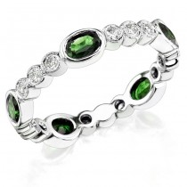 Diamond and Custom Cut Oval Tsavorite Stackable Ring