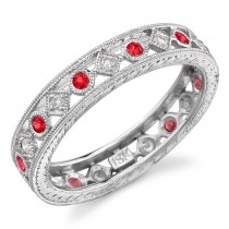 Lace Like Engraved & Mill Grained Satackable Ring With Round Brilliant Cut Diamonds and Ruby