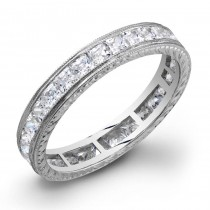 Princess Cut Diamonds Channel Set in a Hand Engraved and Mill Grained Stackable Ring