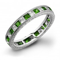 Princess Cut Tsavorite and Diamonds Channel Set in a Hand Engraved and Mill Grained Stackable Ring