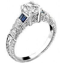 Diamond and Blue Sapphire Engagement Ring, Semi Mount