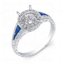 Diamond Halo & Blue Sapphire Engagement Ring