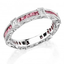 Diamond and Pink sapphire engraved ring