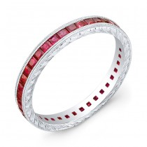 Hand Engraved Gold Ring set with Princess Cut Rubies