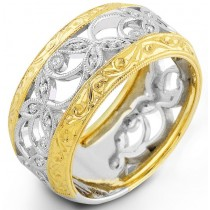 Two Tone Diamond Vine Ring