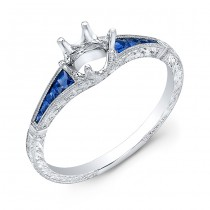 Delicate Hand Crafted Blue Sapphire Semi Mount