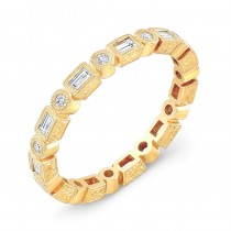Hand Engraved Diamond Stackable Ring Accented by Fine Mill Graining
