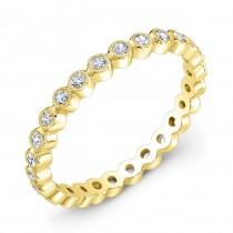 Bezel set diamond stackable wedding ring
