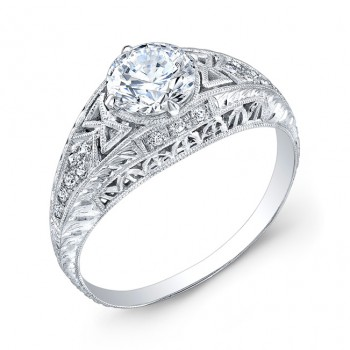Engraved ,Diamond Engagement Ring
