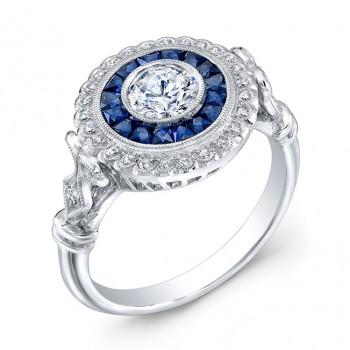 Diamond And Blue Sapphire Ring