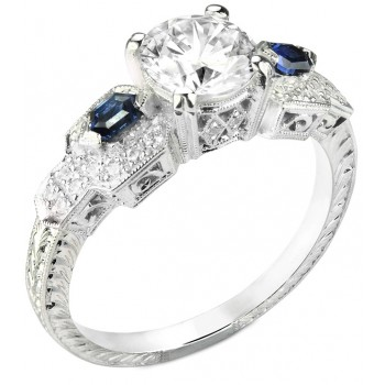Diamond & Custom Cut Blue Sapphire Engagement Ring