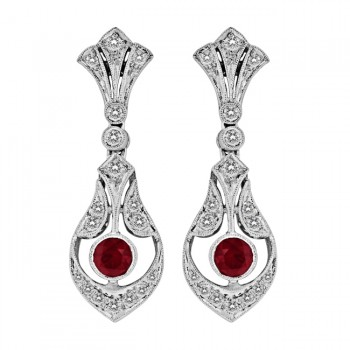 Diamond and Ruby Filigree Earring