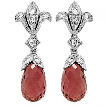 Diamond and Pink Tourmaline Briolette Earring