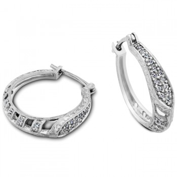 Engraved and Filigree Diamond Hoop Earring