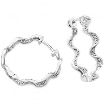 Engraved and Filigree Diamond Wave Hoop Earring