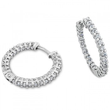 Engraved Diamond Hoop Earring