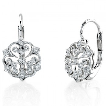 Round Diamond, Lever Back Earring