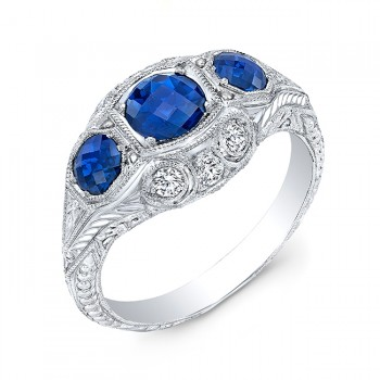 Antique Inspired Three Stone Blue Sapphire & Diamonds Ring