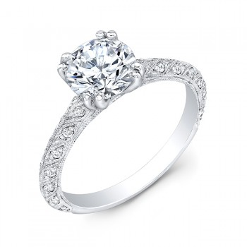 Gordon Clark Antique Inspired Diamond Engraved Engagement Ring
