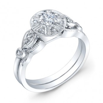 Diamond Engagement Ring,With Fine Millgrained Edging