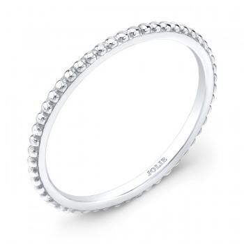 White Gold Band With a Bead Pattern