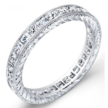 Engraved Princess Cut Diamond Ring