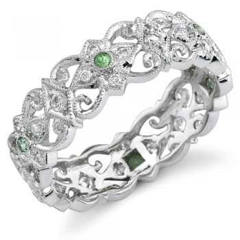 Eloquently Mill Grained Diamond and Tsavorite Stackable Ring
